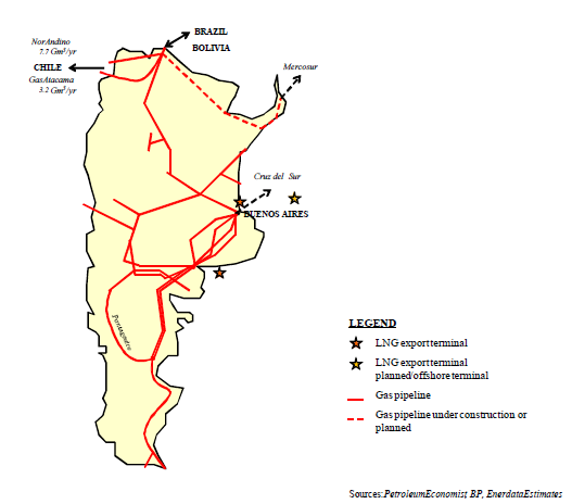 Argentina gas supply map