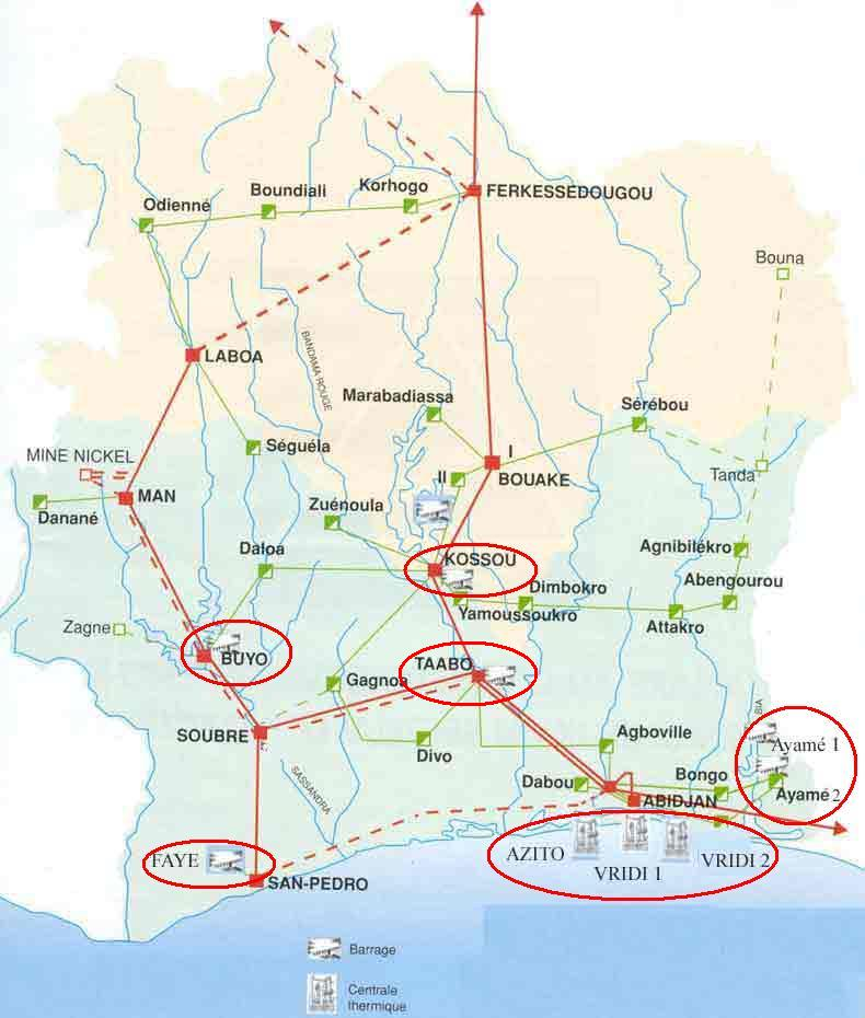 Cote d'Ivoire Power infrastructure map