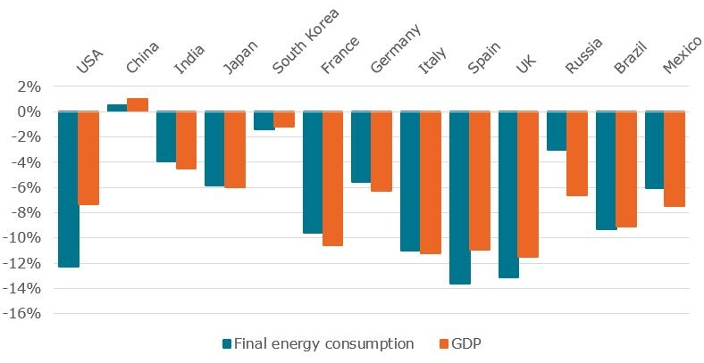 Estimated final energy consumption and GDP variations in 2020 in major G20 countries