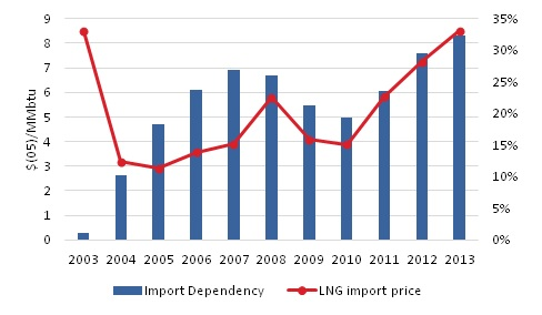 Import dependency of Natural Gas and LNG import price in India