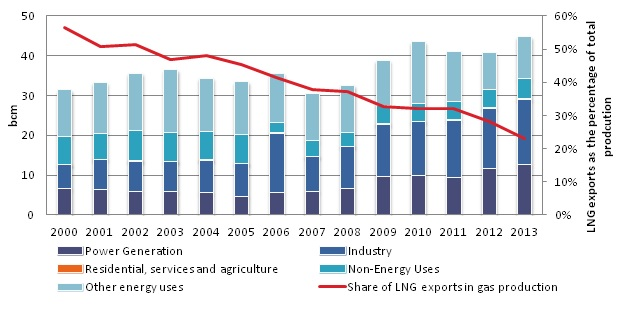 Natural Gas Consumption and LNG exports (2000-2013)